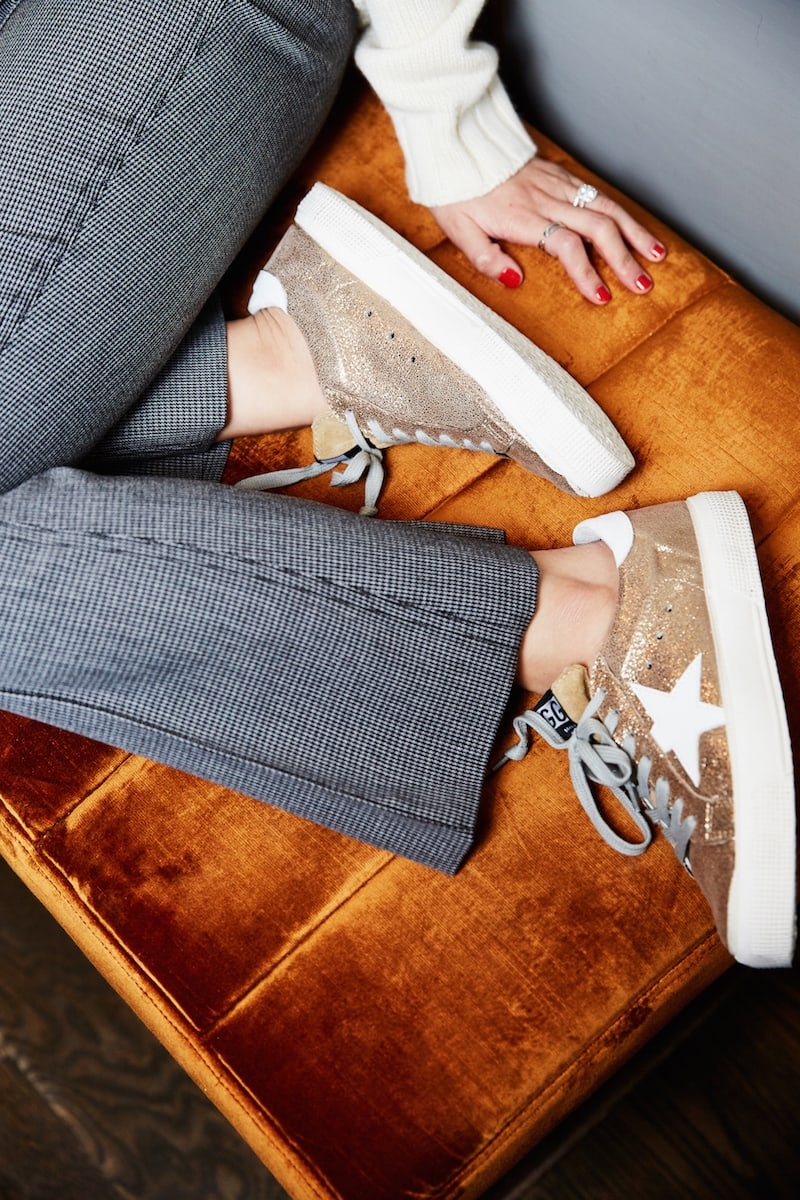 Golden Goose May Cracked Leather Sneakers
