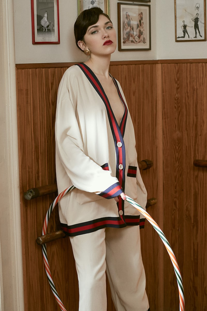 Gucci Silk Crepe de Chine Jacket with Web Piping