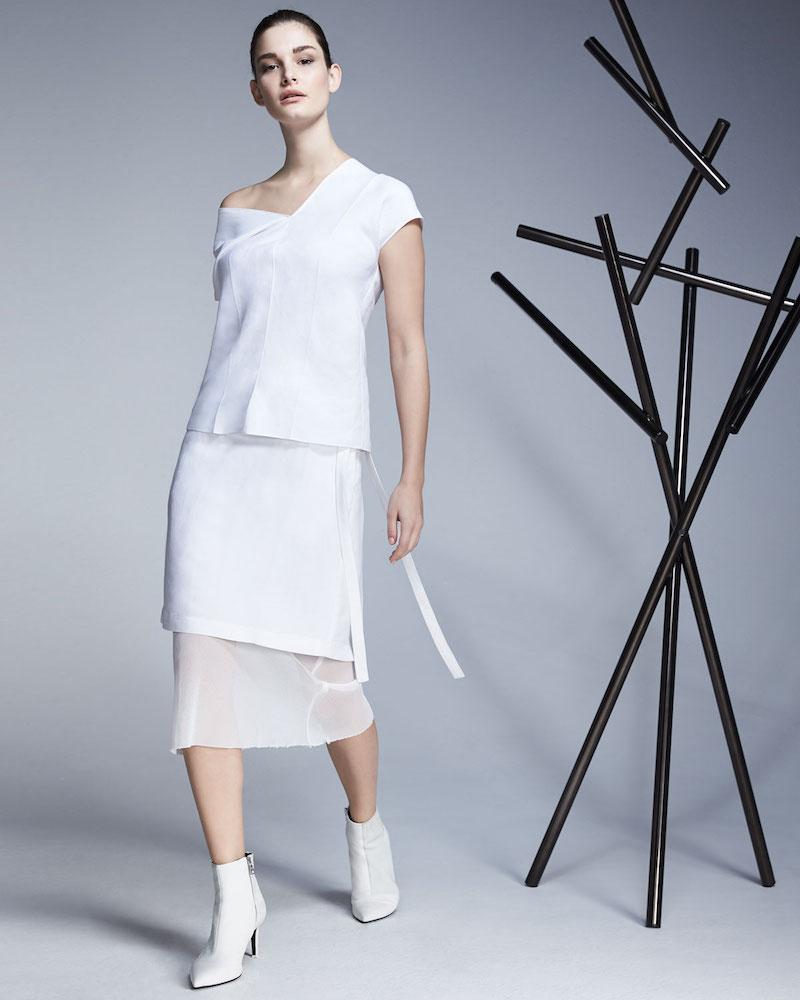 Helmut Lang Asymmetric Linen Top