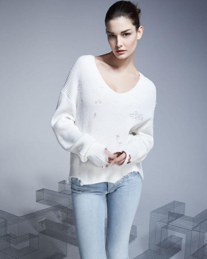 Helmut Lang Distressed V-Neck Pullover Sweater
