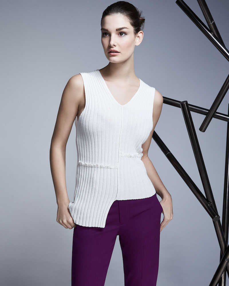 Helmut Lang Mismatched Ribbed Tank with Ruffled Trim