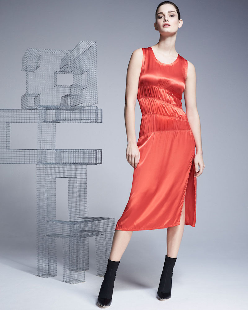 Helmut Lang Sleeveless Ruched Satin Tank Dress