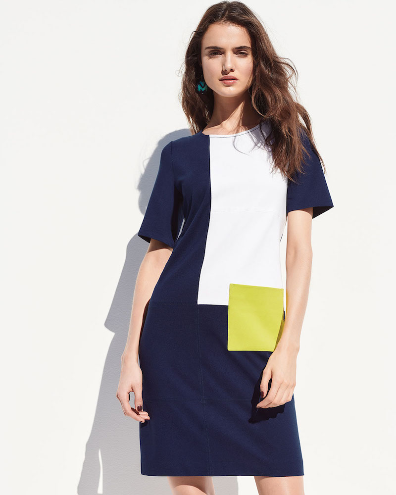 Joan Vass Colorblock Short-Sleeve Pocket Dress
