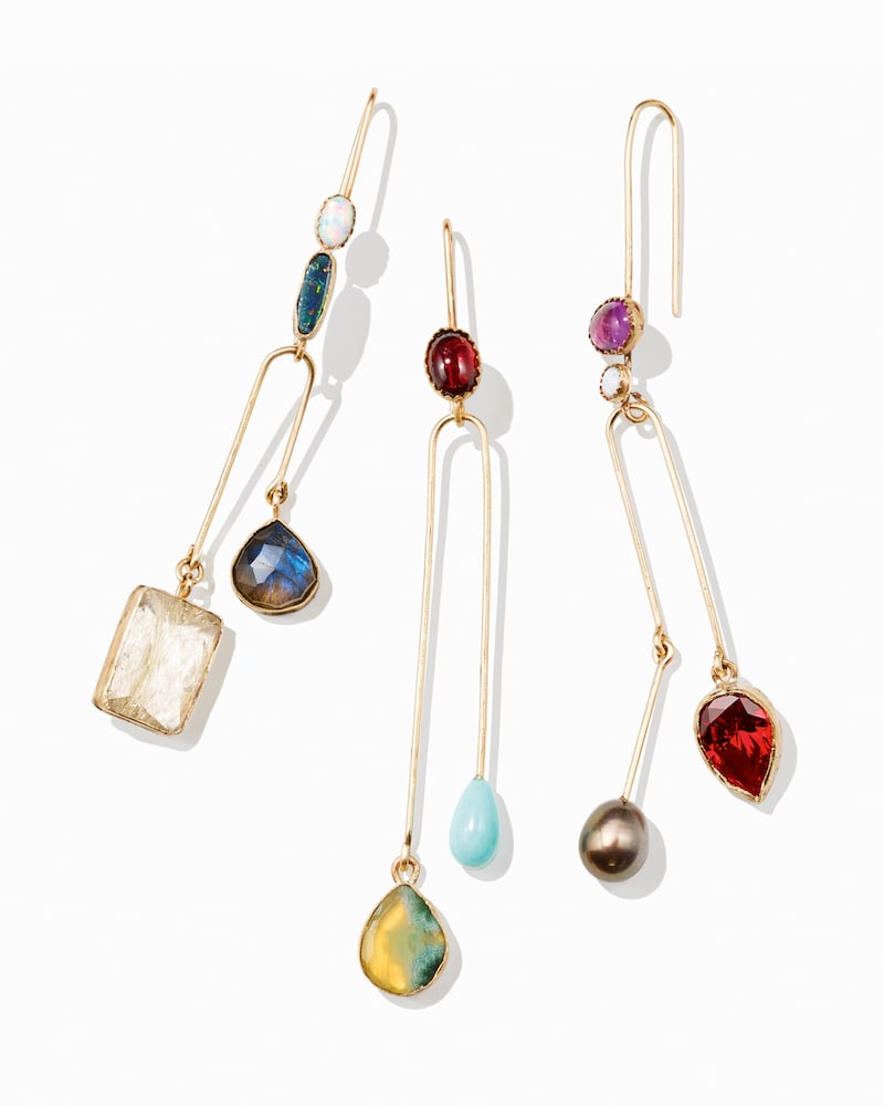 Julie Wolfe Mixed-Gemstone Double-Drop Wire Earrings