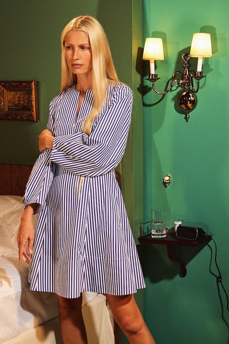 KHAITE Vanessa Stripe Poplin Minidress
