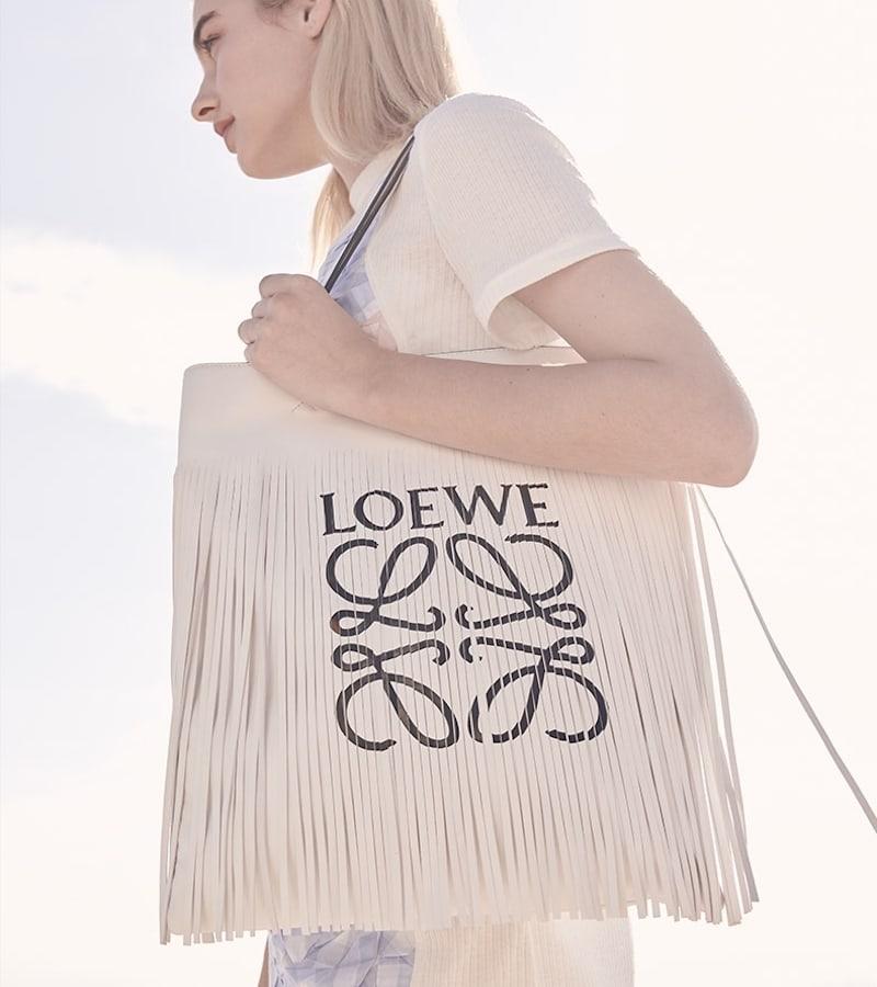 LOEWE Vertical Fringe Leather Tote Bag