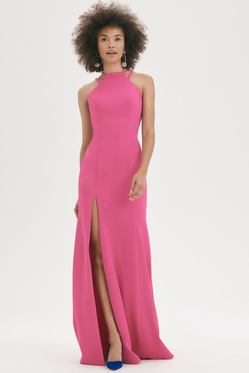 La Femme Beaded Strap Satin Gown