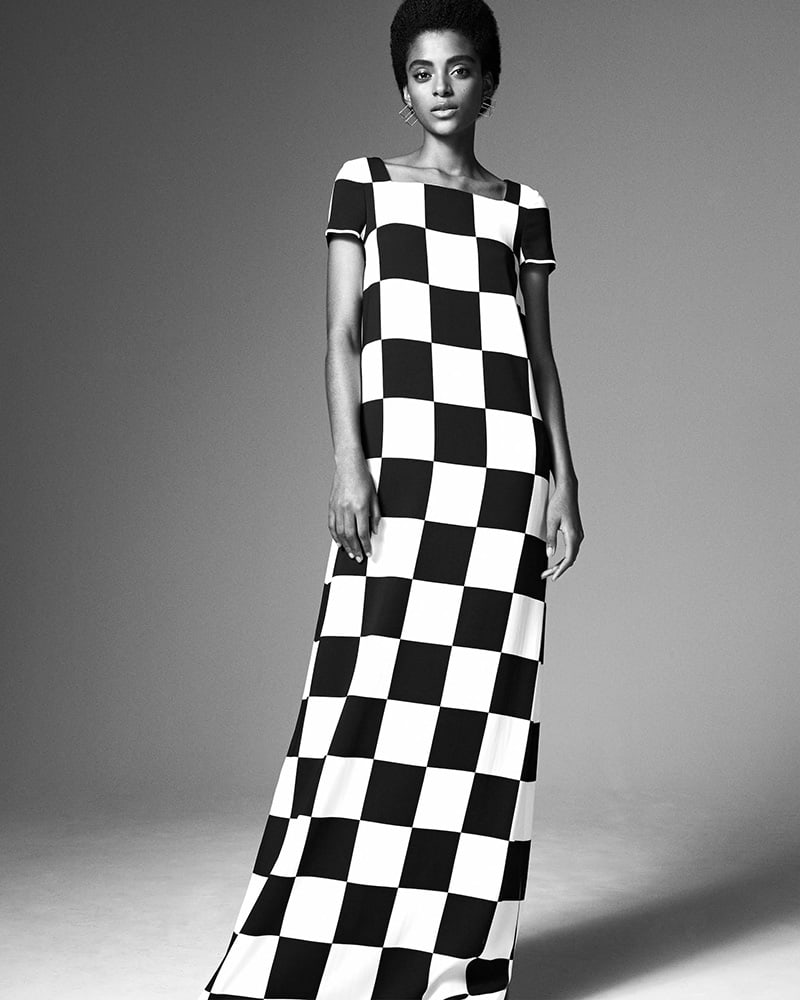 Lisa Perry Checkerboard-Print Crepe Gown