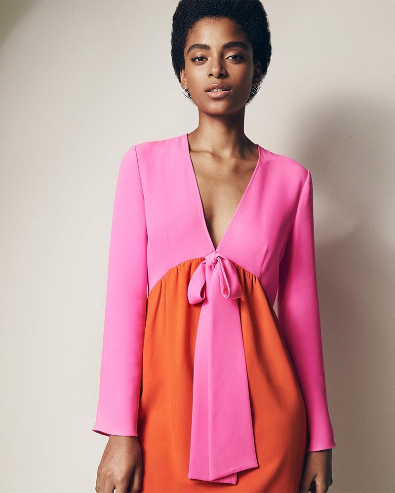 Lisa Perry Colorblocked Crepe Sheath Dress