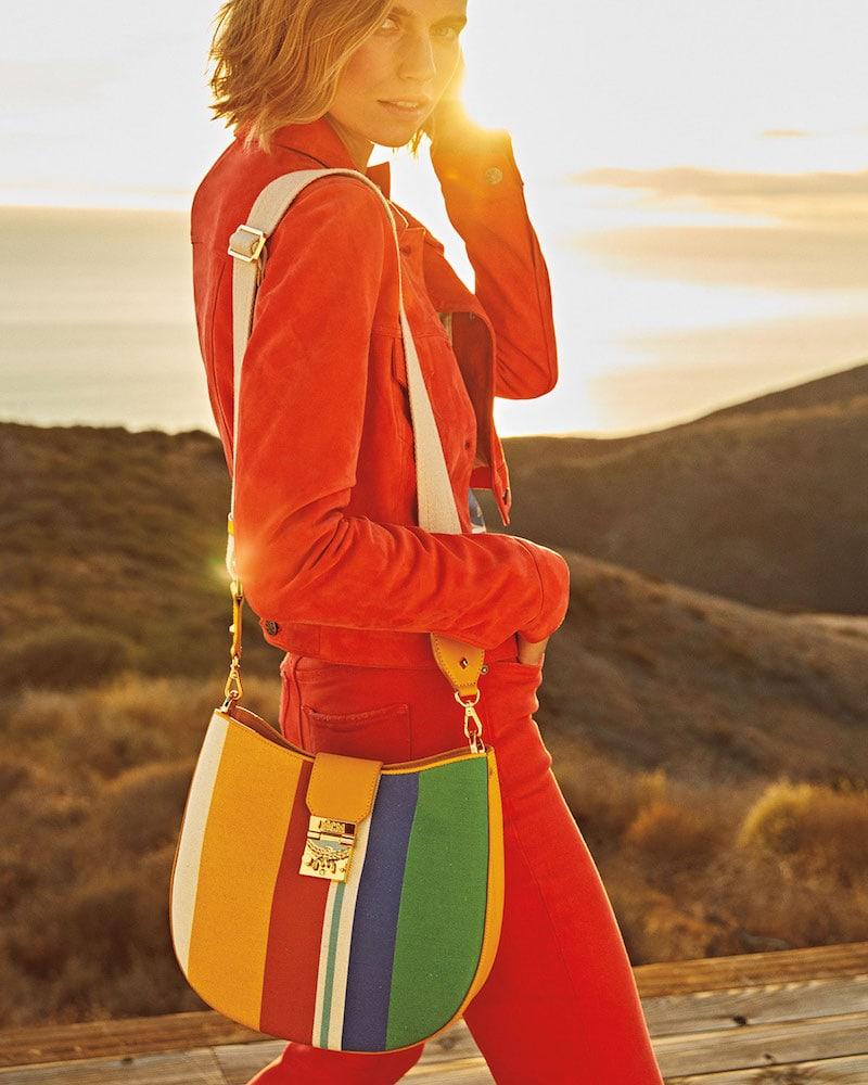 MCM Patricia Rainbow Canvas Hobo Bag