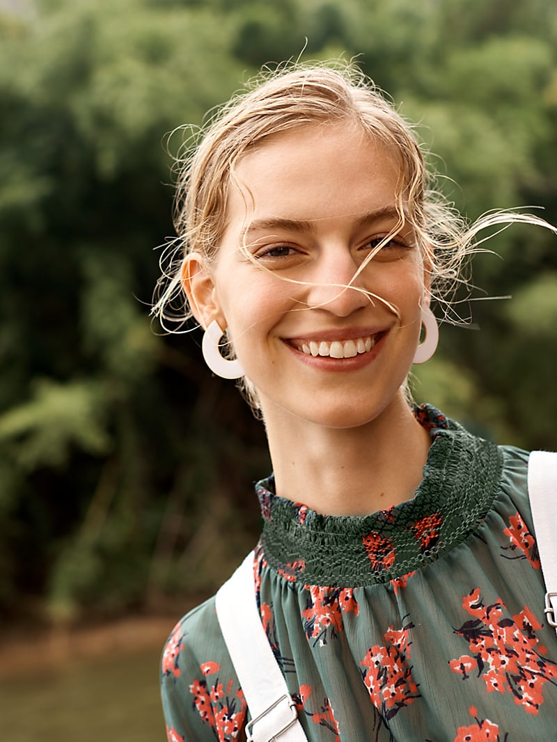 Madewell Mockneck Top In Butterfly Garden