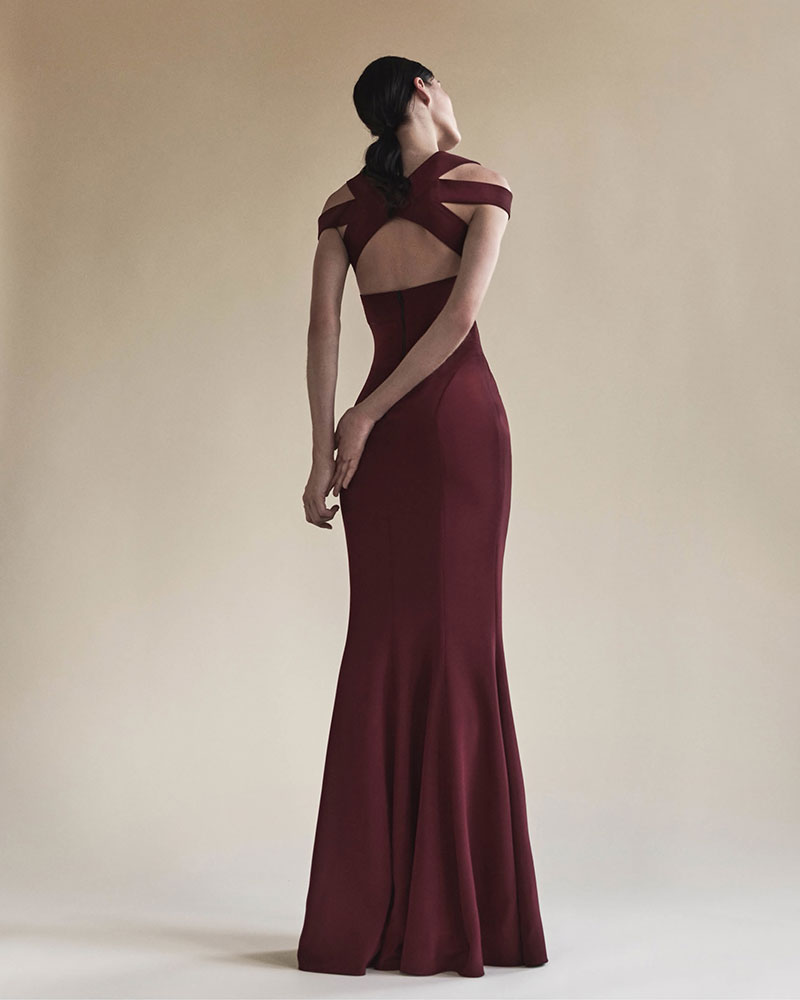 Narciso Rodriguez Stretch-Silk Crepe Open-Back Gown