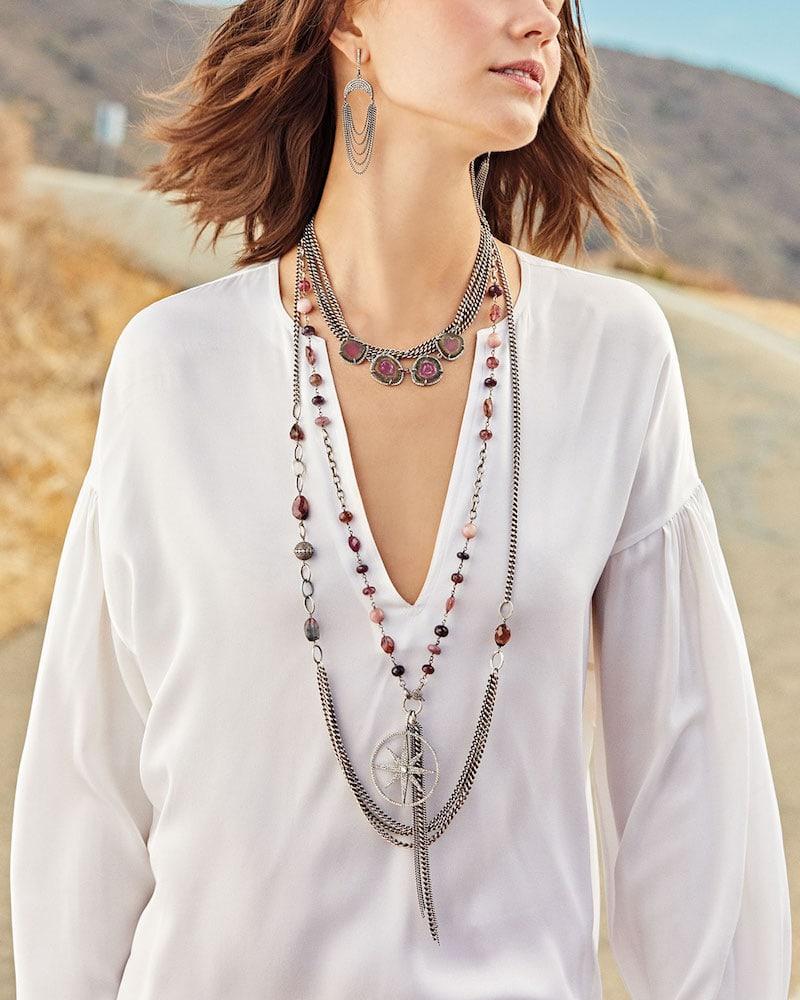 Sheryl Lowe Tourmaline & Diamond Drape Curb Necklace