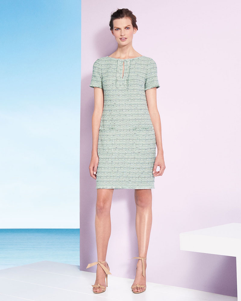 St. John Collection Riana Multi-Tweed Split-Neck Dress