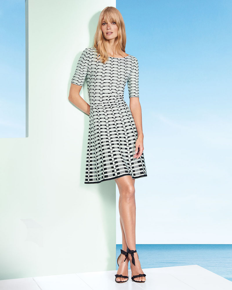 St. John Collection Textural-Grid-Knit Fit-and-Flare Dress