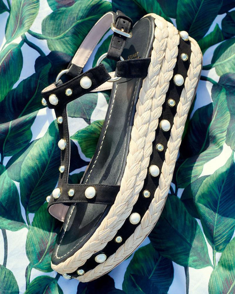 Stuart Weitzman Beraffia Embellished Suede Wedge Sandal
