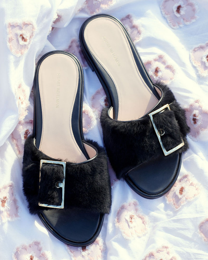Stuart Weitzman Fuzzywuz Buckle Fur Slide Sandal