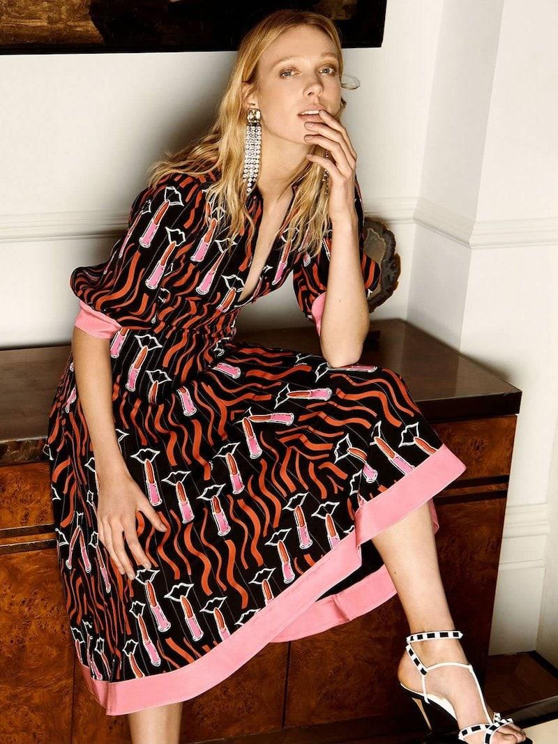 Valentino Lipstick-Print Contrast-Hem Cady Dress