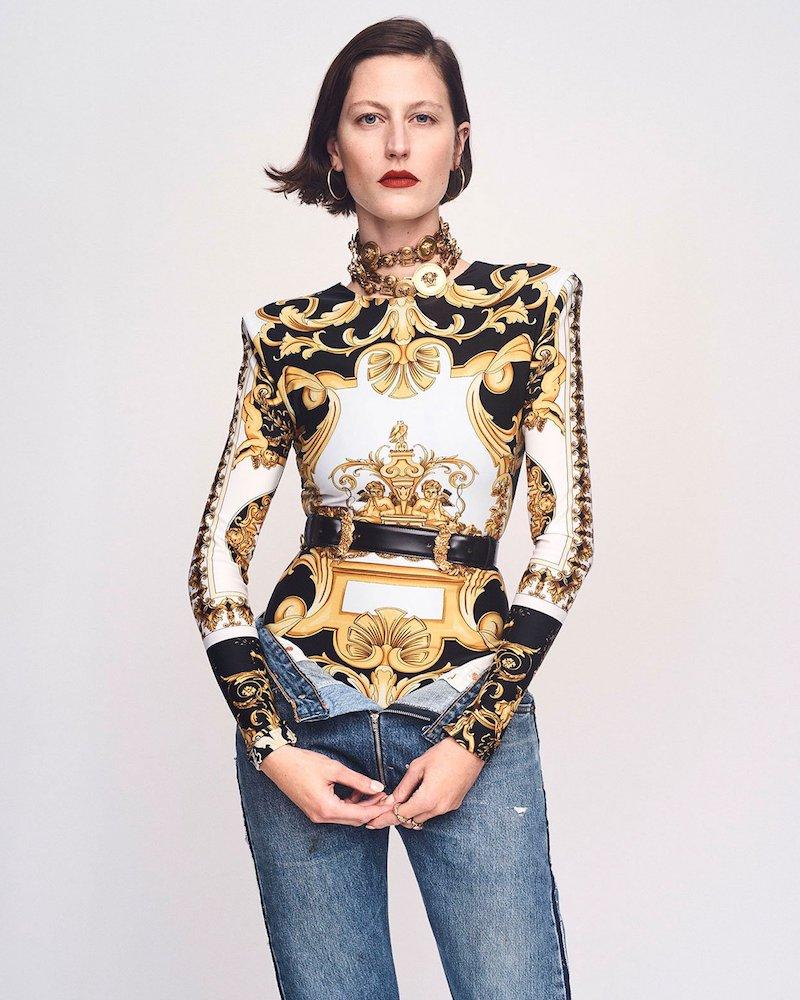 Versace Baroque-Print Long Sleeve Top