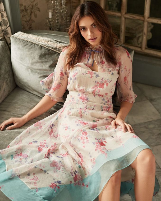 Vilshenko Arieta Floral Crinkle Drawstring Neck Dress