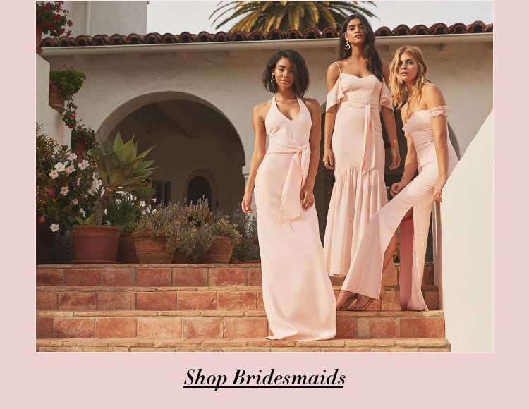 Introducing: Likely x REVOLVE bridesmaid capsule. Five exclusive styles in blush tones, black & white to fit any wedding palette. Shop Bridesmaids.