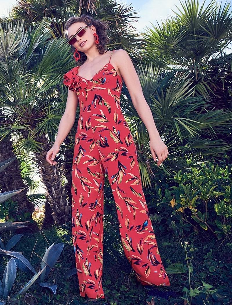 AMUR Brielle Floral Silk Jumpsuit