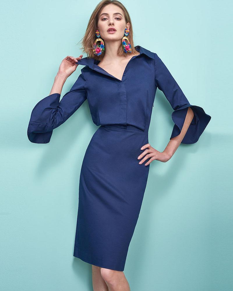 Badgley Mischka Collection Poplin Stretch Ruffle-Sleeve Shirt Dress