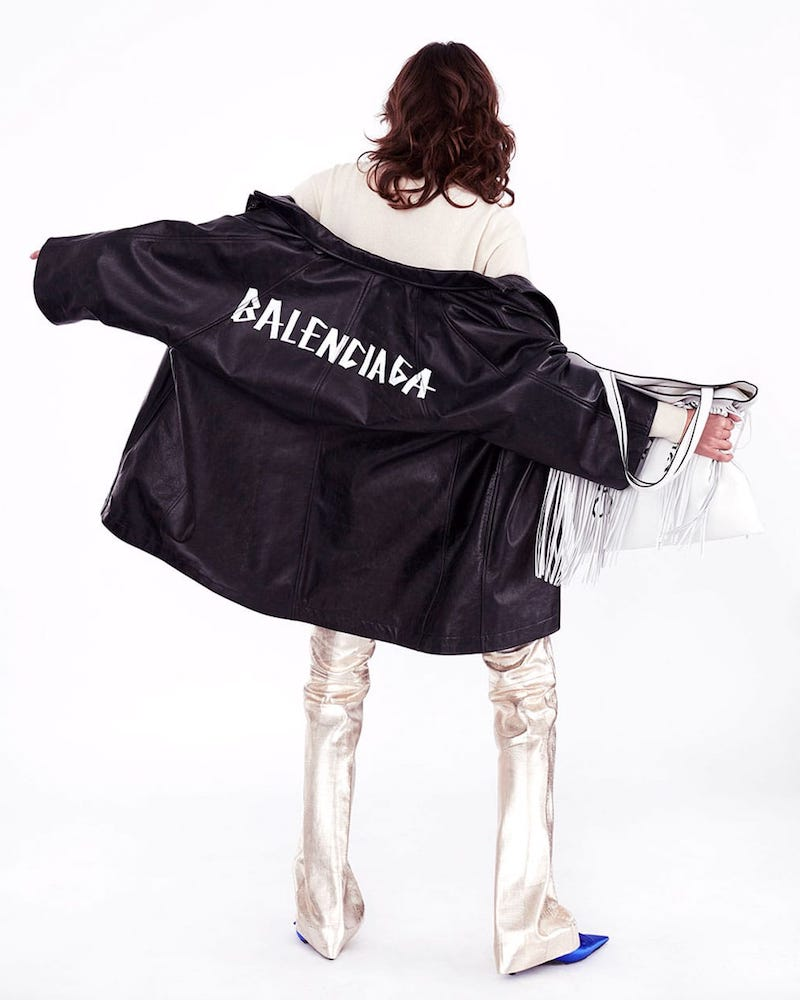 Balenciaga Pulled Vintage-Effect Leather Coat
