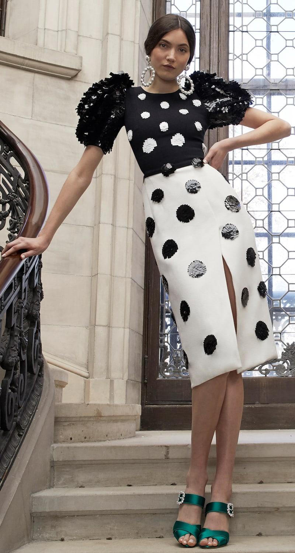 Carolina Herrera Pixelated Dot Midi Dress