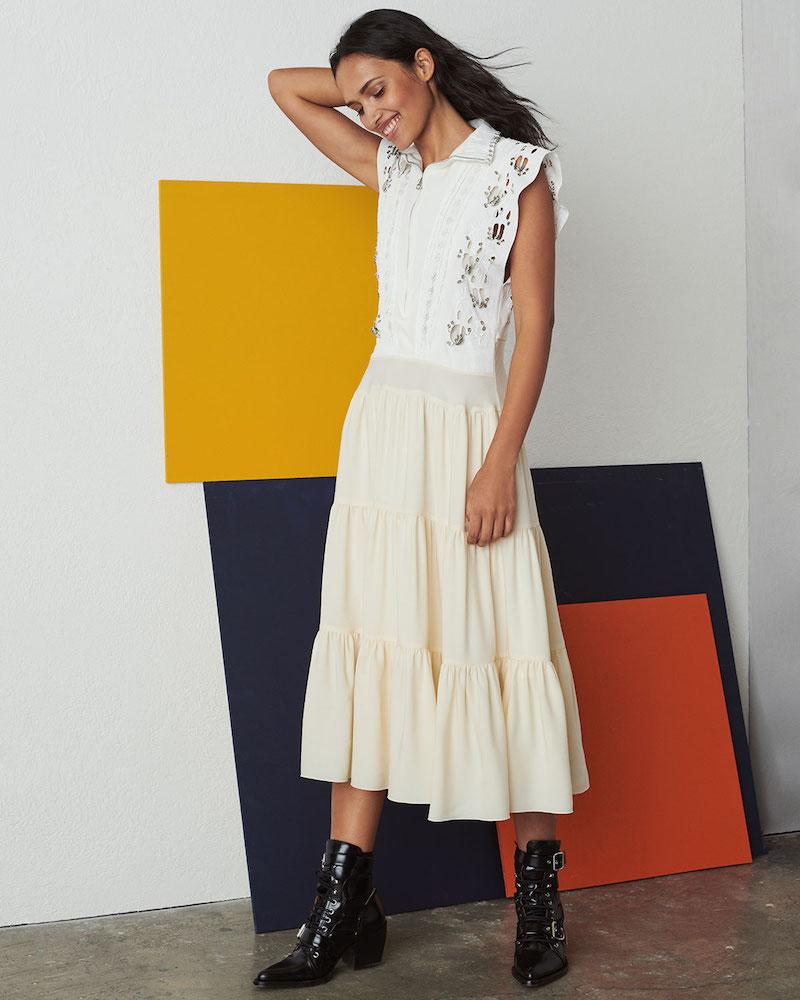 Chloé Broderie Anglaise Silk Cady Victorian-Style Midi Dress