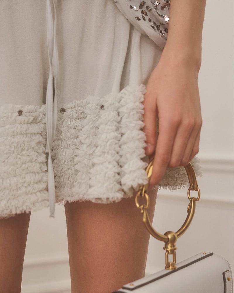 Chloé Crepe Tulle-Ruffle Shorts