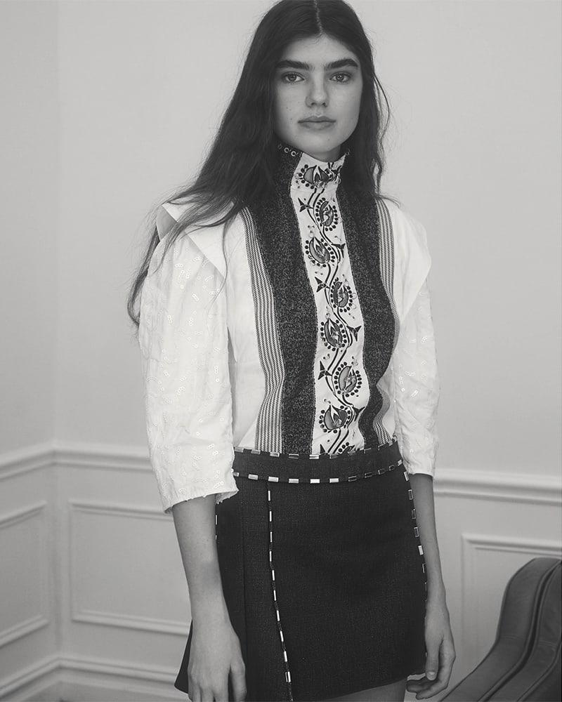 Chloé Embellished Cotton Piqué Miniskirt