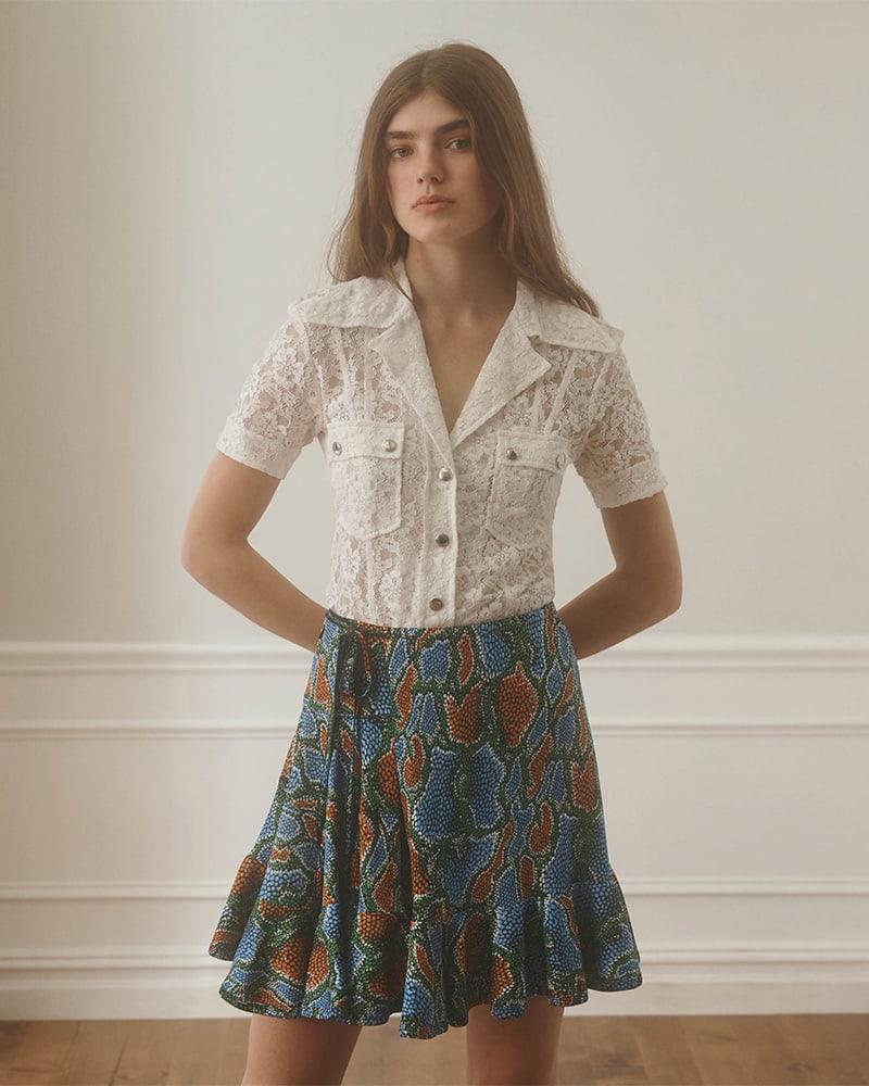 Chloé Python-Print Jersey Miniskirt