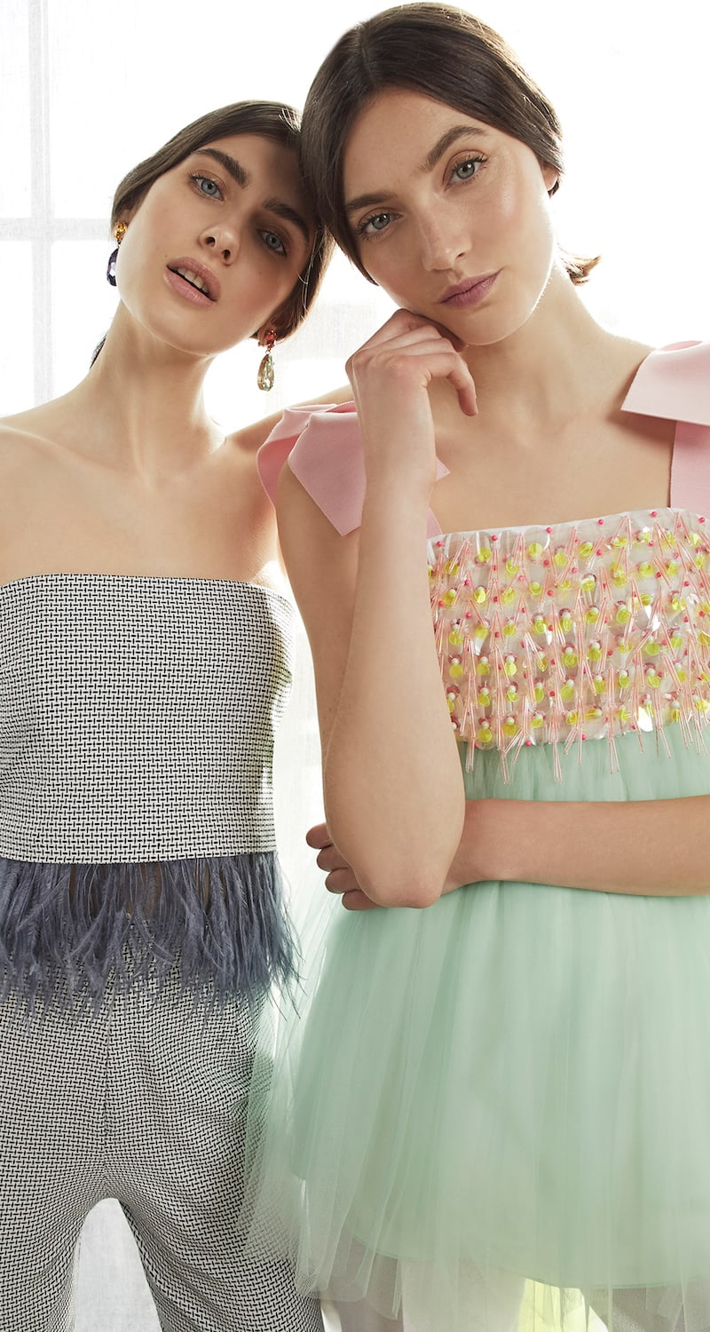 DELPOZO Embroidered Tulle Top
