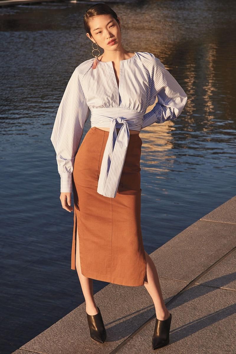 Diane von Furstenberg Midi Twill Pencil Skirt