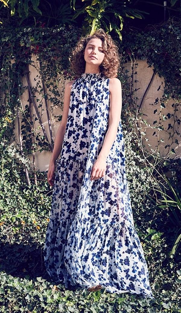 Elizabeth and James Lani Ink Floral Print Gown