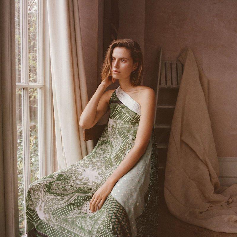Etro Draped One-Shoulder Silk Dress