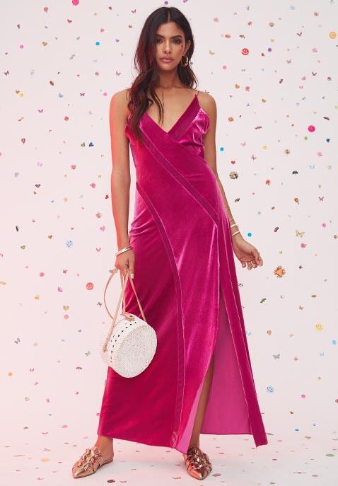 Free People Spliced Velvet Maxi Dress