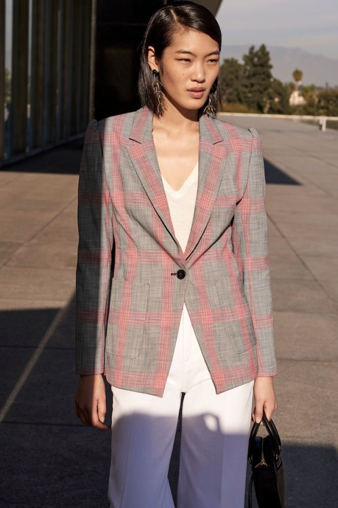 Halogen Windowpane Plaid One Button Blazer