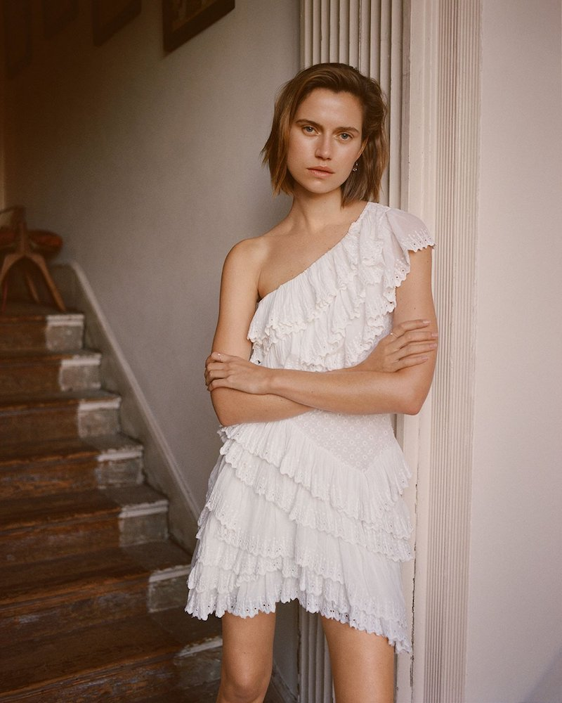 Isabel Marant One Shoulder Ruffle Mini Dress
