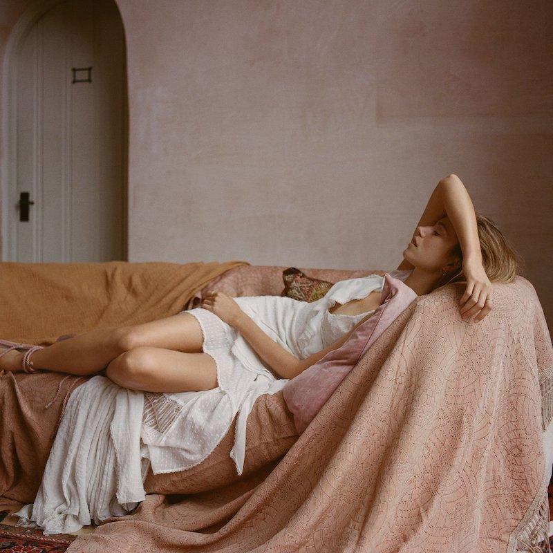 Jonathan Simkhai Asymmetric Ruffle Front Gown