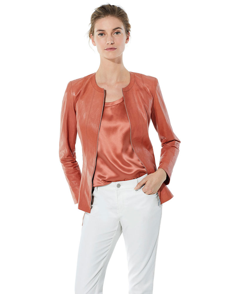 Lafayette 148 New York Courtney Round-Neck Leather Zip Jacket