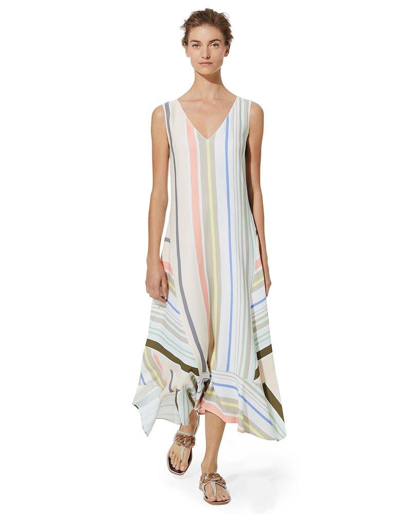 Lafayette 148 New York Isla Mesa Stripe V-Neck Dress