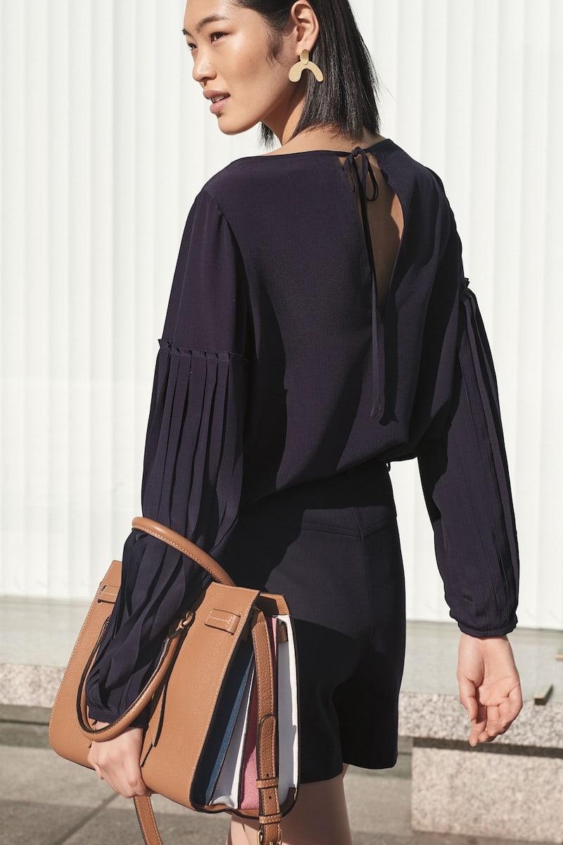 Lewit Pleat Sleeve Silk Top in Black