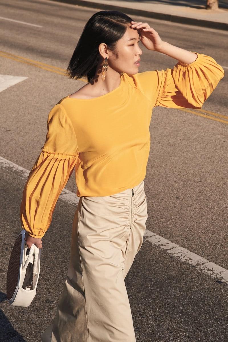 Lewit Pleat Sleeve Silk Top
