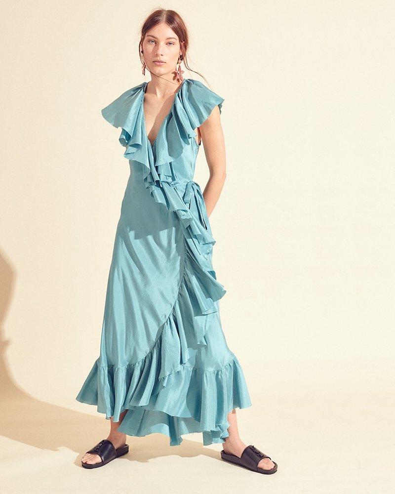 Loup Charmant Callella Ruffled Silk Wrap Dress