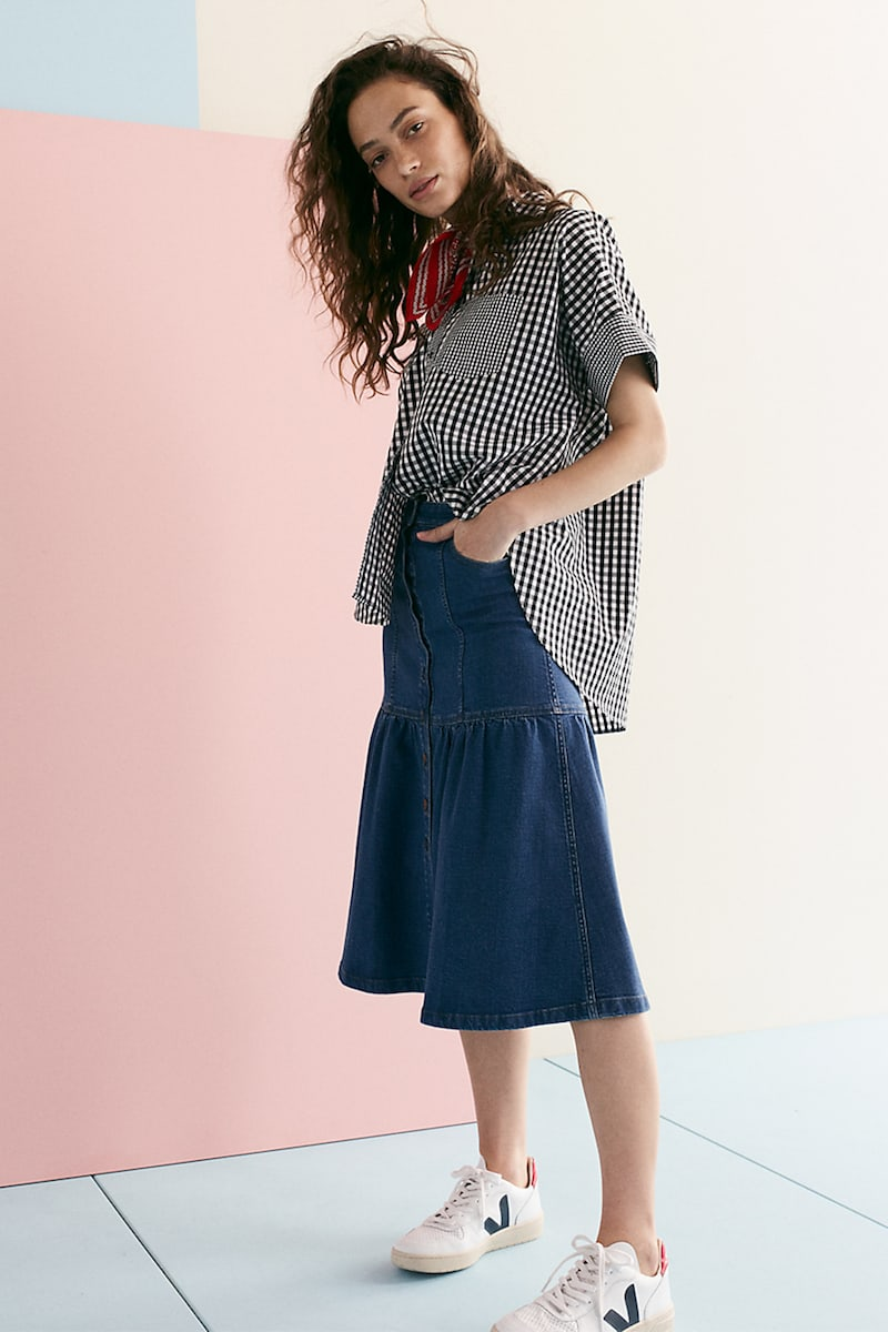 Madewell Denim Bayview Tiered Midi Skirt