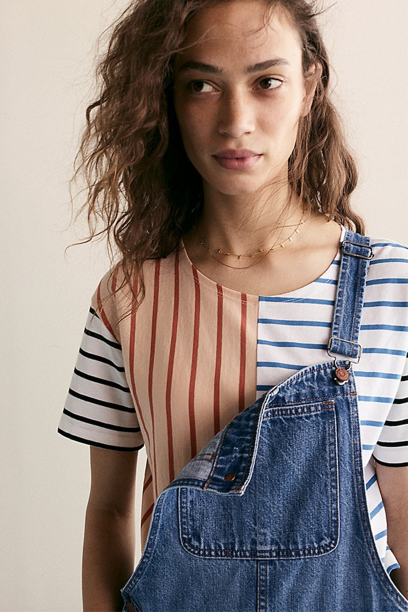 Madewell Easy Crop Tee in Stripe Mix