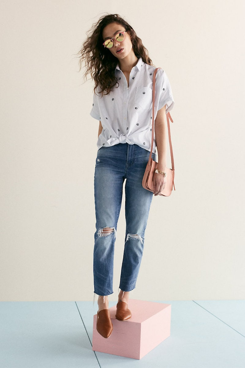 Madewell The High-Rise Slim Boyjean: Knee-Rip Edition