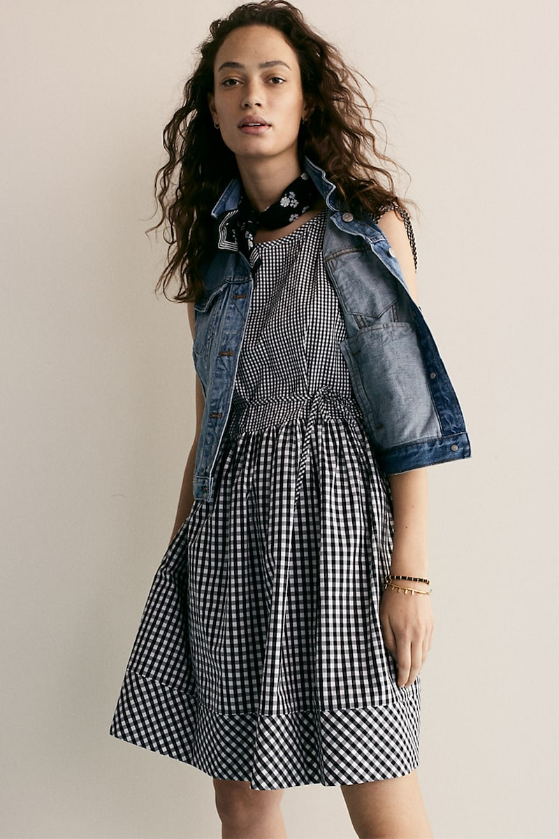 Madewell Tie-Back Mini Dress in Gingham-Play